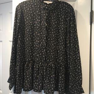 Loft cherry print peplum blouse